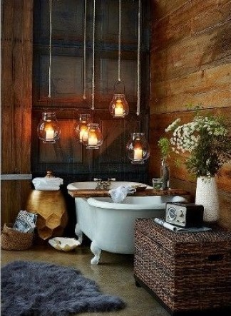 Bathroom ideas and accessories on a budget. Rustic bathroom decor with retro hanging lights