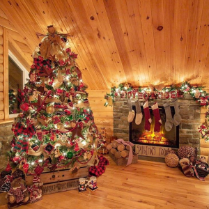 Rustic cabin log Christmas decor inspiration. Rustic Christmas decor.