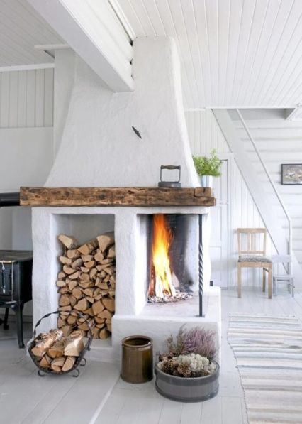 Rustic cottage with open fireplace