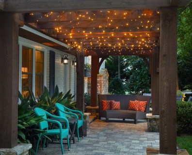 Rustic patio decor with led lights on the ceiling