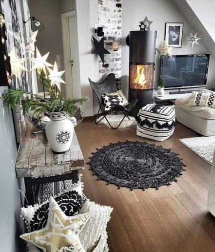 Scandinavian Christmas living room decor with indoor fireplace