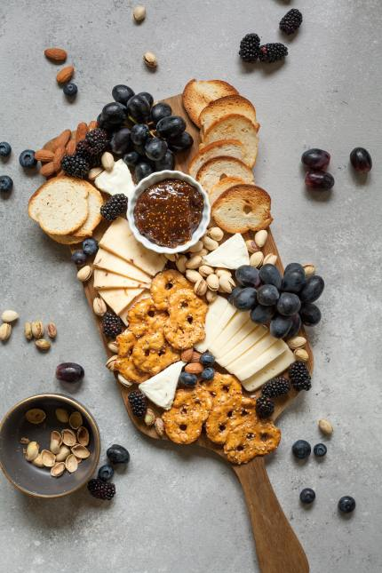 Seeds and cheese crackers Christmas charcuterie board