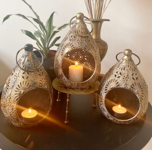 Set of 3 Antique Vintage Style Moroccan Lanterns Candle Holders