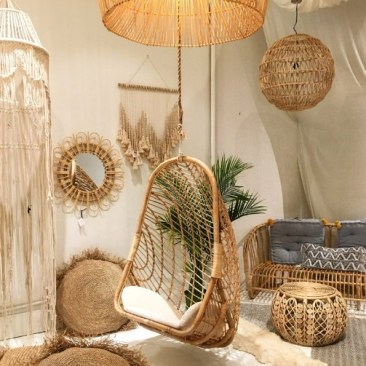Boho rattan hanging chair