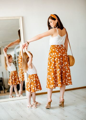 Spring floral midi skirt mother and daughter