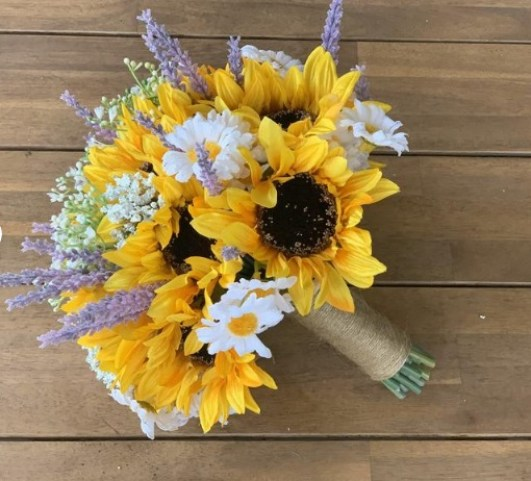 Sunflowers and lavender bouquet Bride bouquet Bridesmaid bouquet Rustic wedding