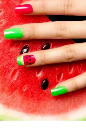 Watermelon summer nails design idea