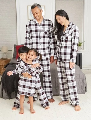 White Plaid Flannel nightwear