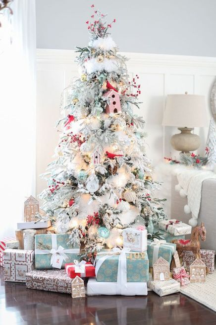 White and blue Christmas tree