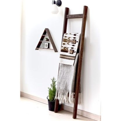 Wood ladder for blankets and towels