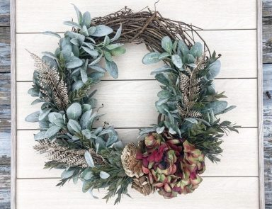 fall greenery wreath for front door