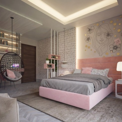 Girly yet sophisticated bedroom decor