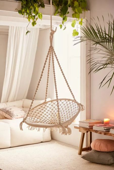 macrame hanging chair on ceiling. Cheap macrame swinging chair