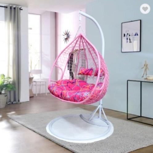 pink rattan chair for indoor decor. egg chair for indoor decor