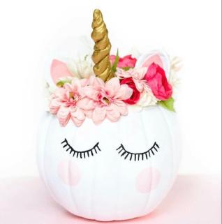 pretty unicorn pumpkin decor ideas