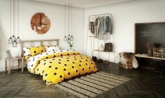 Elegant yellow bedroom decor