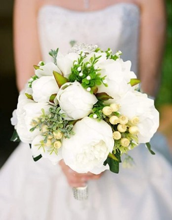 Honey Love Wedding Bridal Bouquet Crystal Bridesmaid Bouquet Peony Rose Artificial Flowers for Wedding Church White Style