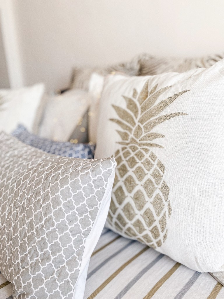 White linen cushion covers