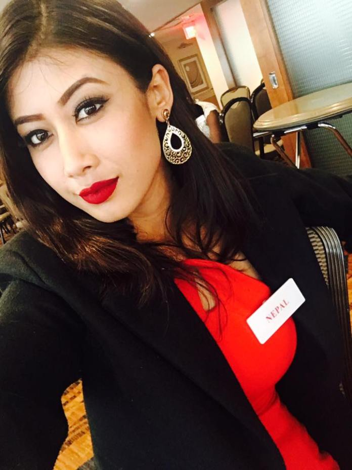 Asmi Shrestha Miss Nepal World 2016 Name Badge 1