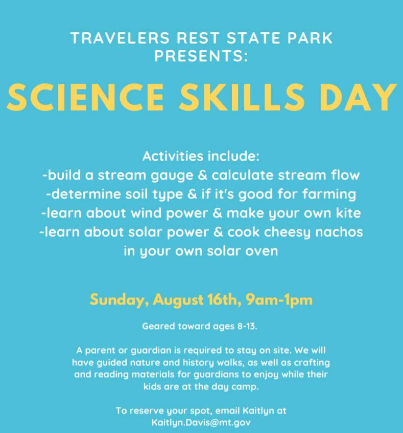 Science Skills Day at Travelers Rest State Park in Lolo Montana