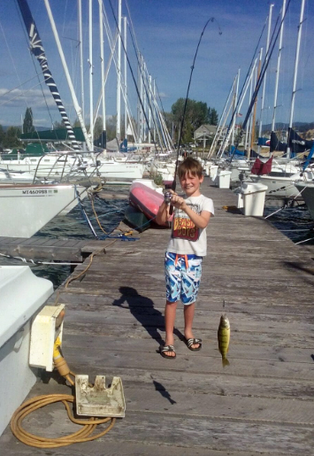 Fishing from the Dayton Harbor dock is a good place for kids to catch perch.