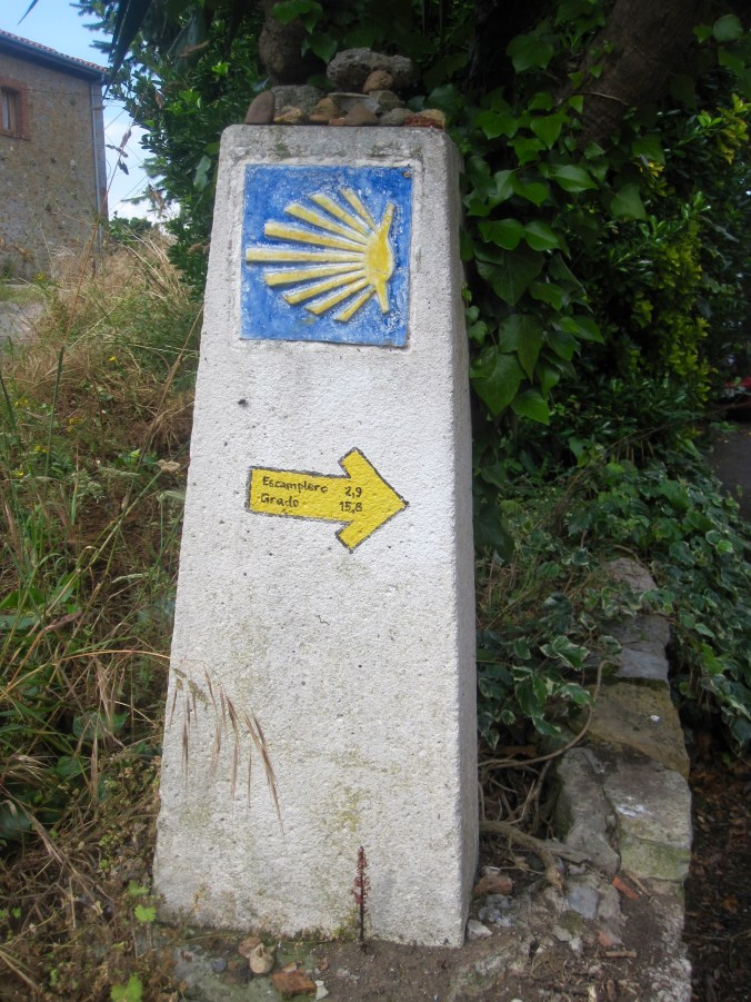 Typical marker of the way – tile with yellow shell on blue background