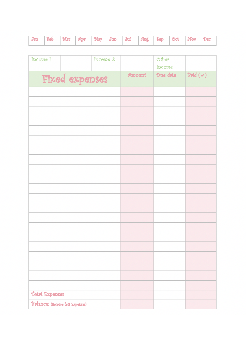 Fixed expenses budget planner printable