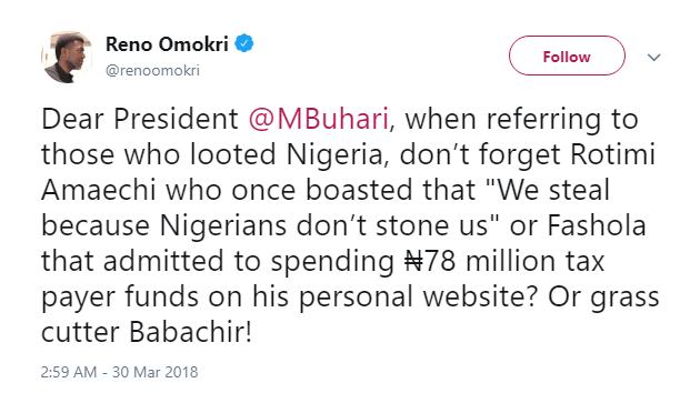 Don't forget 'looters' Amaechi and Fashola-Reno Omokri to Buhari