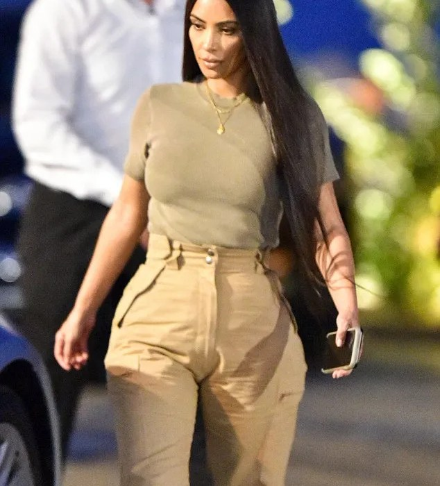 Kim Kardashian And Kanye West twinning in cargo pants