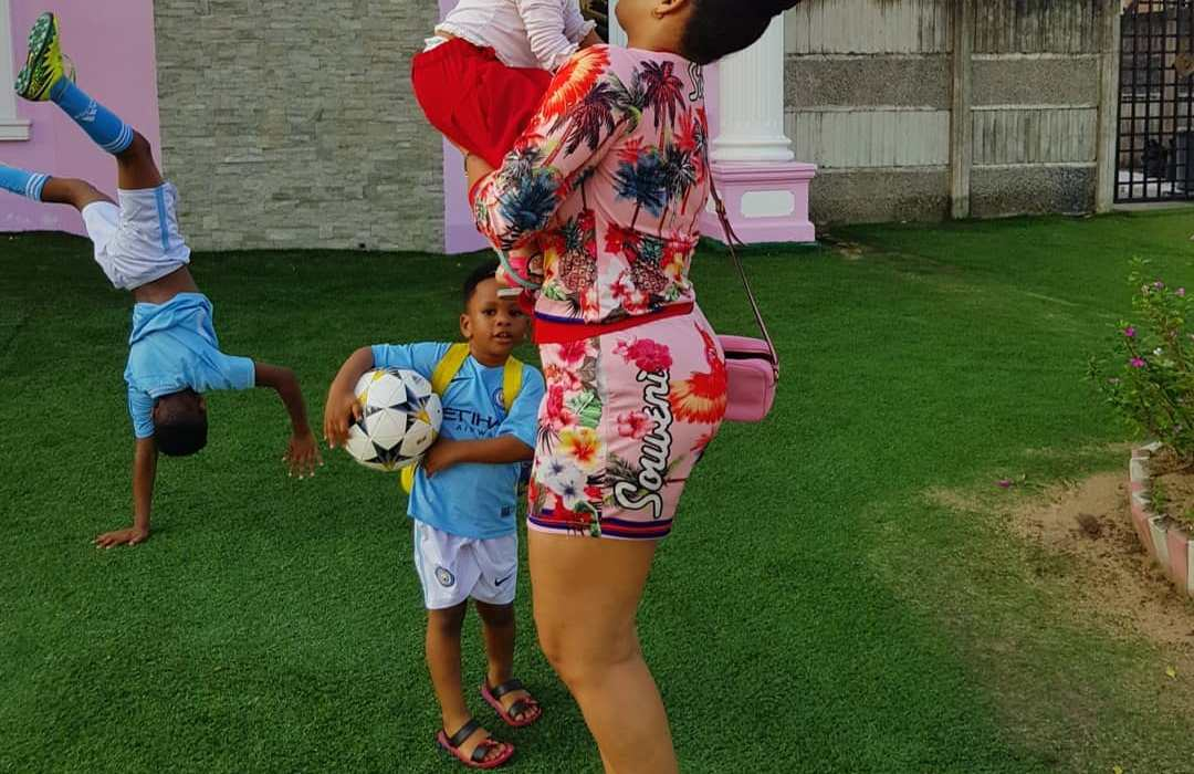 Adorable photos of Adaeze Yobo playing with her kids