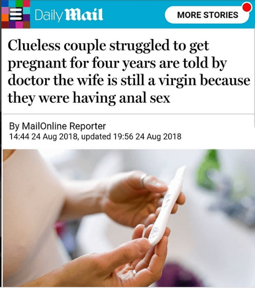 Couple who struggled to get pregnant for 4 years discover wife's virginity is the issue