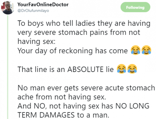 Abdominal pain after sexually active men