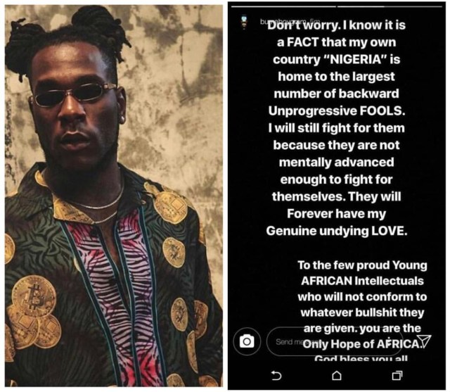 Image result for burna Boy: Nigeria is home to largest number of backward unprogressive fools