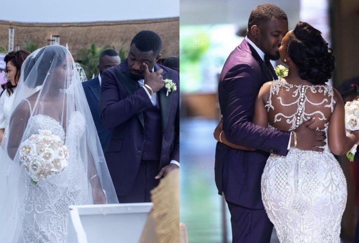 Fans accuse John Dumelo of faking tears at his wedding