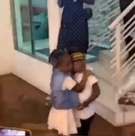 Davido's Daughter, Imade Hugs Tiwa Savage's Son, Jamil On His 4th Birthday