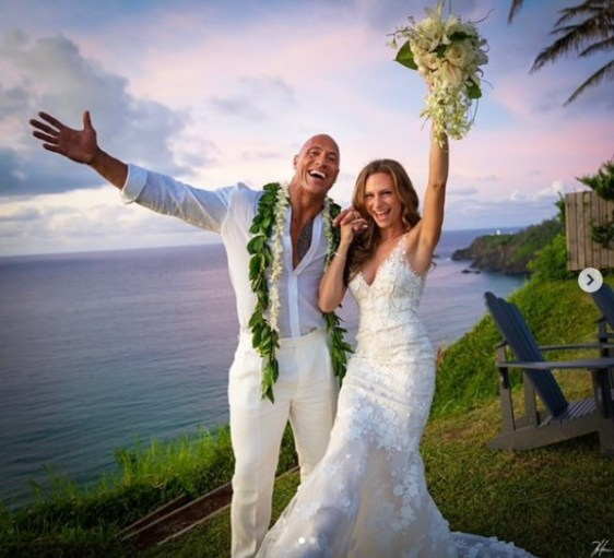American Actor 'The Rock' Weds His Girlfriend Of 12 Years (Photos)