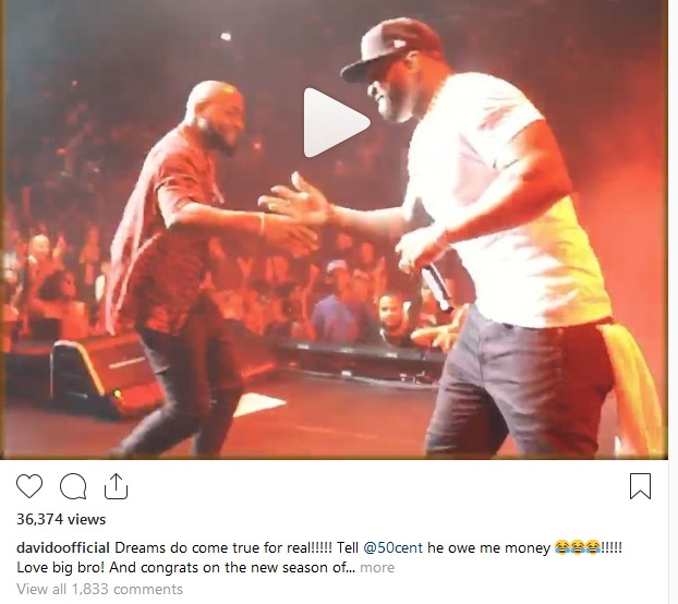 Davido Reacts After Performing with 50Cent on Stage (Video)