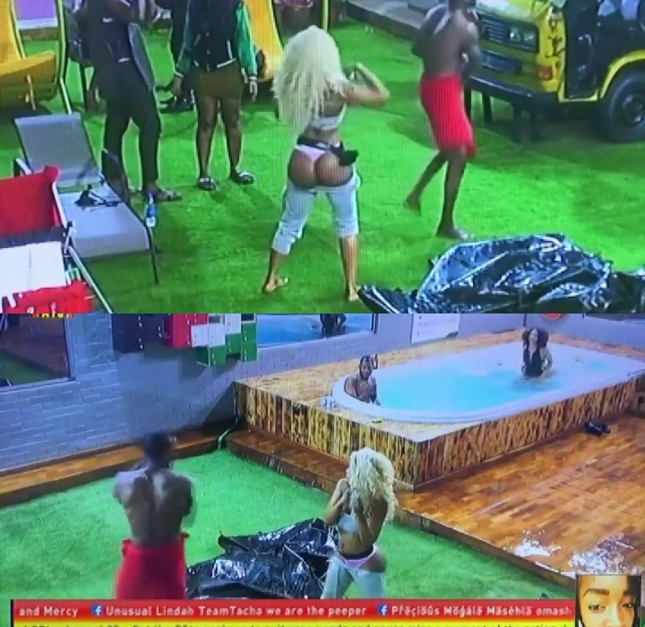#Bbnaija : Omashola slaps Mercy's naked Butts as she twerks on him and Seyi (Video)