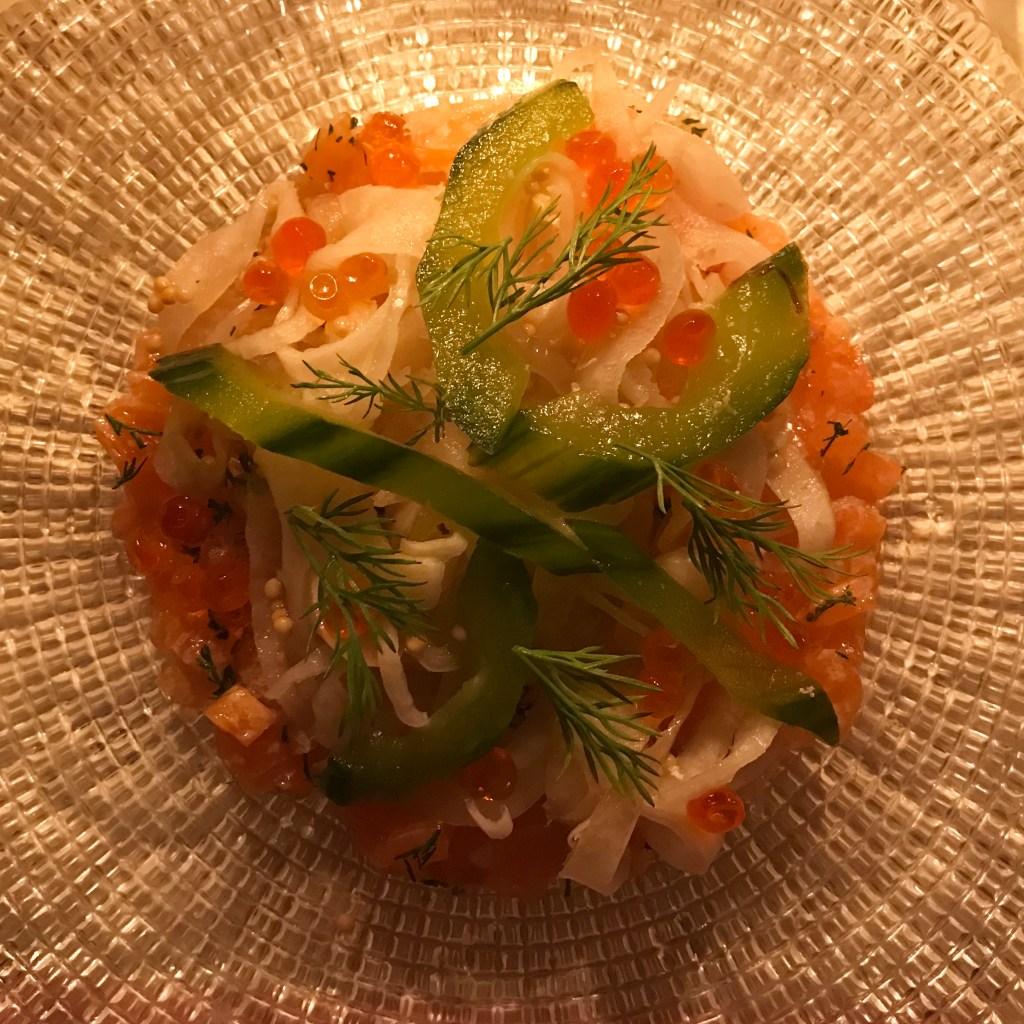 Salmon tartare at Bob Bob Ricard Soho London