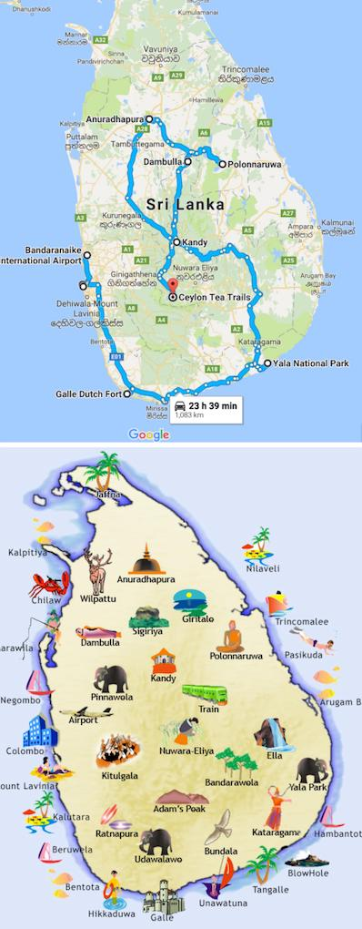 Sri Lanka Maps - Sri Lanka Two Week Itinerary