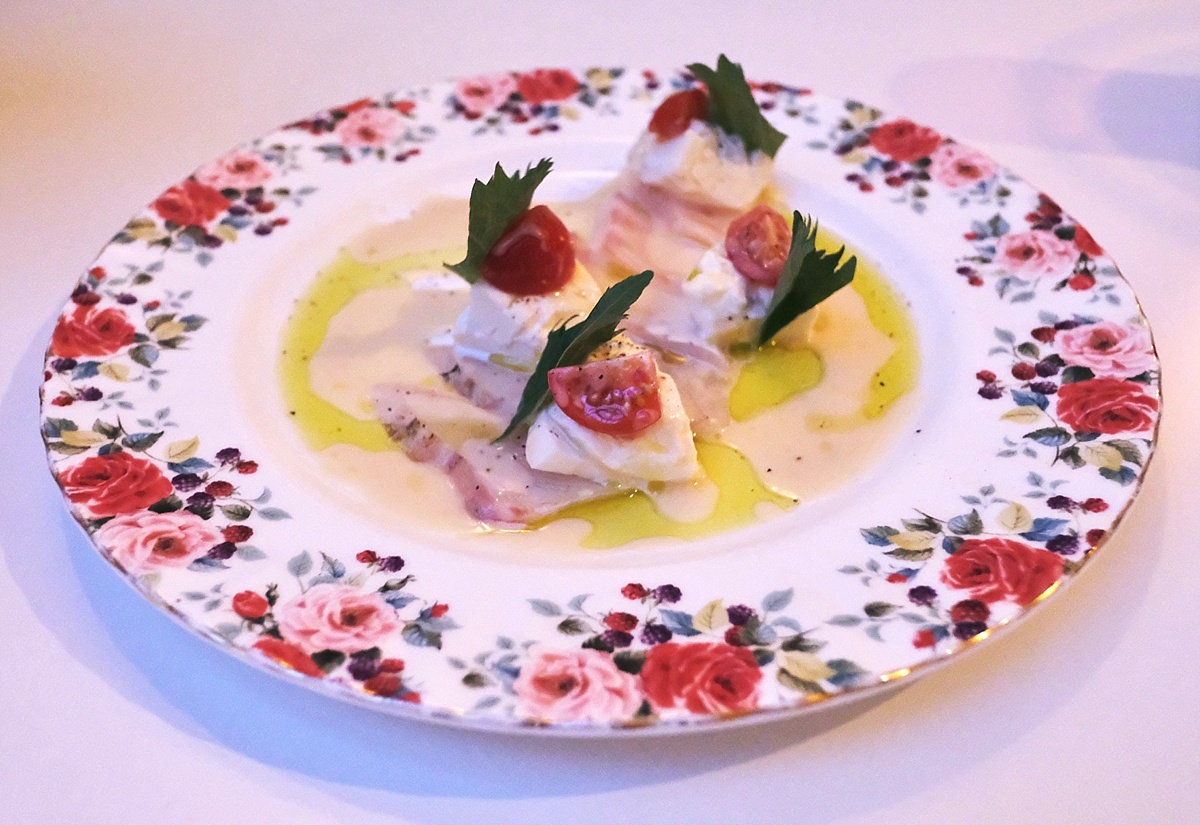 Seabass Carpaccio Yashin - Yashin Ocean South Kensington- Yashin Ocean House London- Sushi without soy suace? Guest post by Lara Olivia Miss Portmanteau - Club Elsewhere- The world's travel diary - Rosie Bell Editor & travel writer - sushi omakase - London South Kensington Restaurants