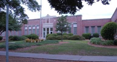 George Hurst Building (former Demonstration School), built 1926-27, N.W. Overstreet, archt. Photo by Jennifer Baughn, MDAH, 5-23-2008.