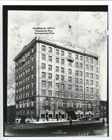 """""""Magnolia Hotel"""" Vicksburg, Miss. courtesy Youngstown Historical Center of Industry and Labor accessed from ohiomemory.org 2-1-17"""