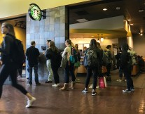 The line at Starbucks is long, despite the recent boycotting.