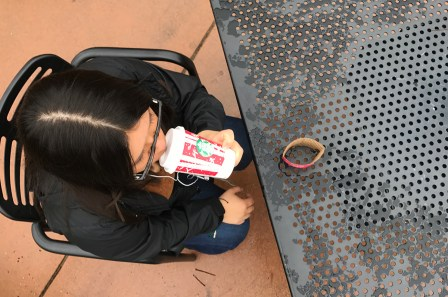 Diana Serrano, whose mother immigrated from Mexico, drinks her white mocha from Starbucks.
