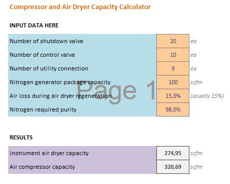 Air compressor and air dryer calculation spreadsheet