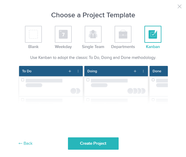 Choose project template in Taskworld