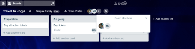 Example of Trello Board Travel to Jogja