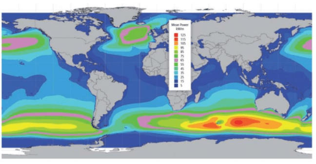 global offshore annual wave power distribution