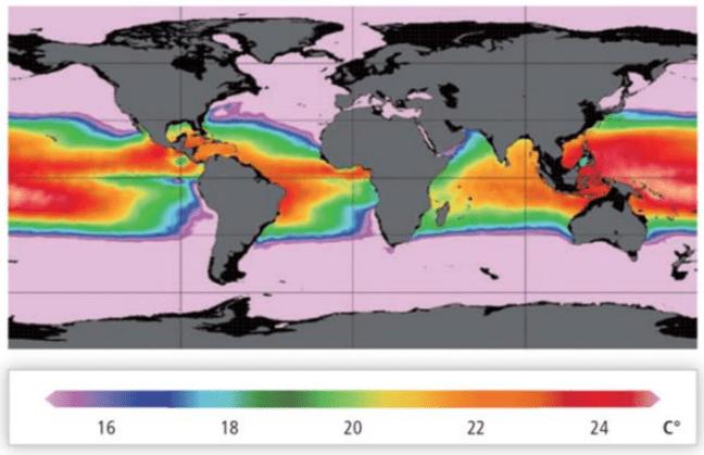 worldwide average ocean temperature differences in Celcius, between 20 meter and 1000 m water depth